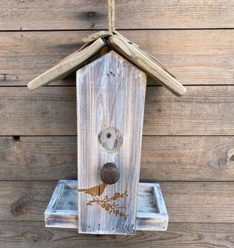 Whitewashed Hanging Birdfeeder