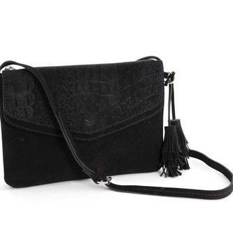 Black Embossed Suede Envelop Purse