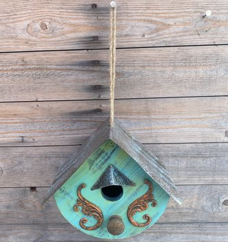Hanging Metal Blue Birdhouse