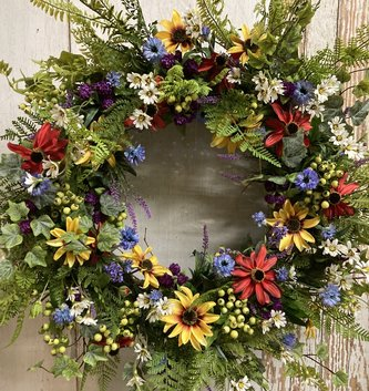 Custom  Fern & Wildflower Wreath