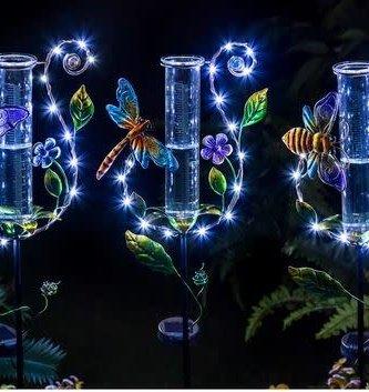 Solar Twinkling Light Rain Gauge Garden Stake (3-Styles)