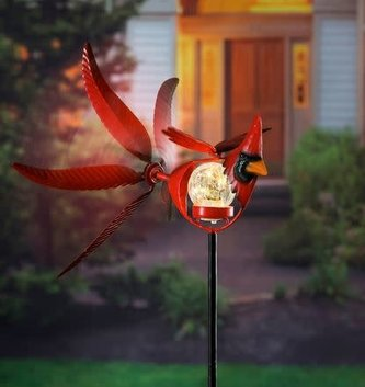 Solar Cardinal Wind Spinner Stake