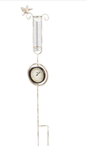 Hummingbird Thermometer Rain Gauge Garden Stake