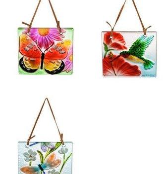 Handpainted Embossed Glass Suncatcher (3-Styles)