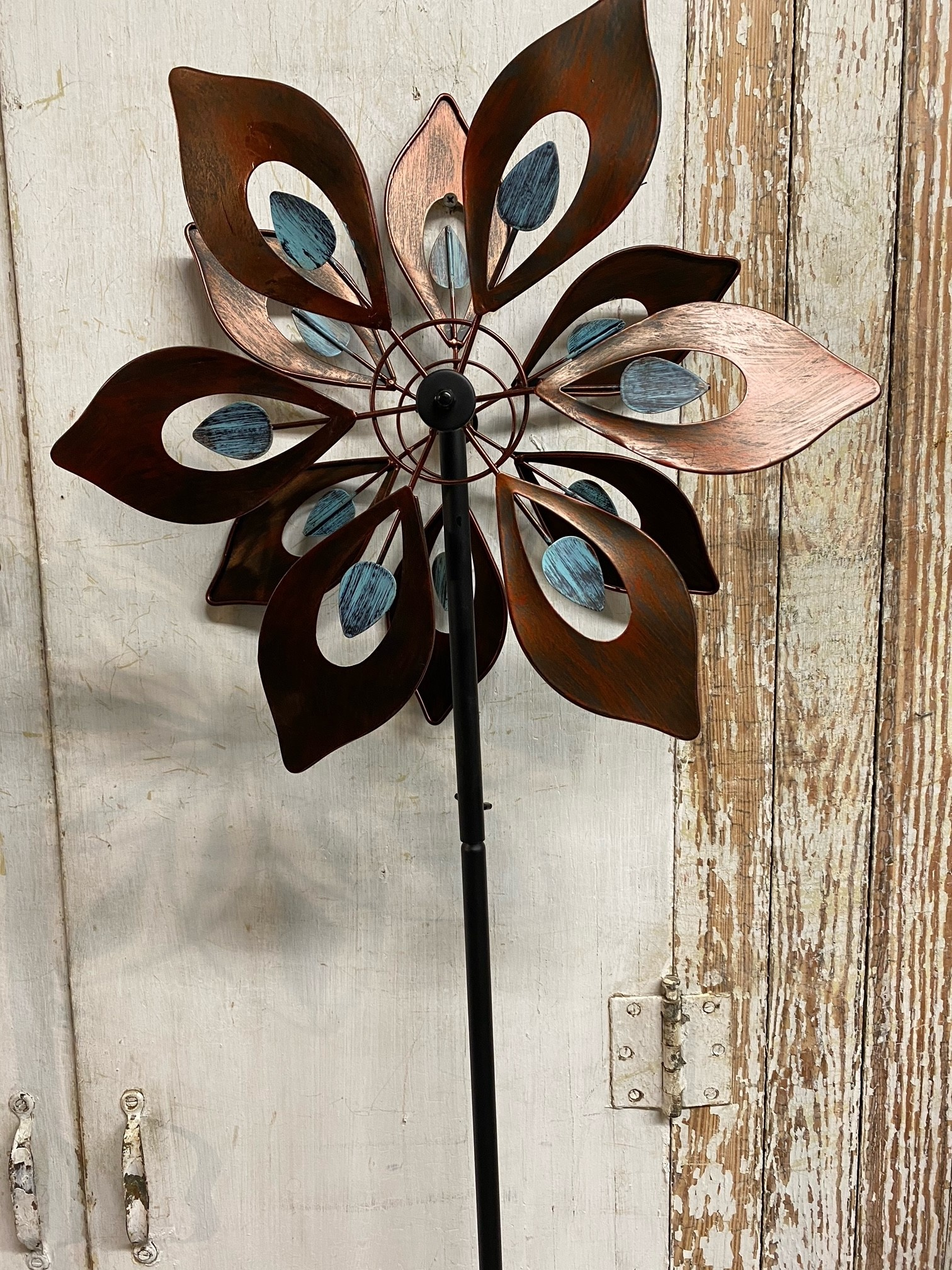 Small Kinetic Turquoise & Copper Wind Spinner (2-Styles)