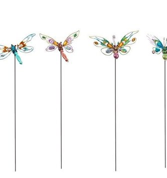 Jeweled Whimsical Garden Stake (4-Styles)