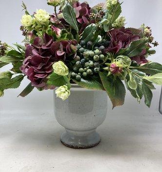 Custom Hydrangea In Light Gray Crackle Urn