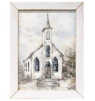 Framed White Church In The Country