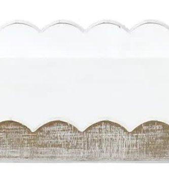 Scalloped Whitewashed Tray (2-Sizes)