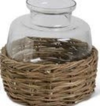 Glass Urn in Woven Basket (2 Sizes)