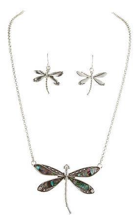 Abalone Dragonfly Necklace Set