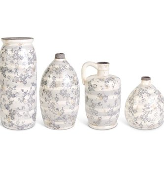 Gray/Cream Stripe Floral Vase (4-Styles)