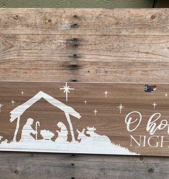 Horizontal O Holy Night Nativity Sign