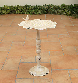 White Metal Pedestal Birdbath