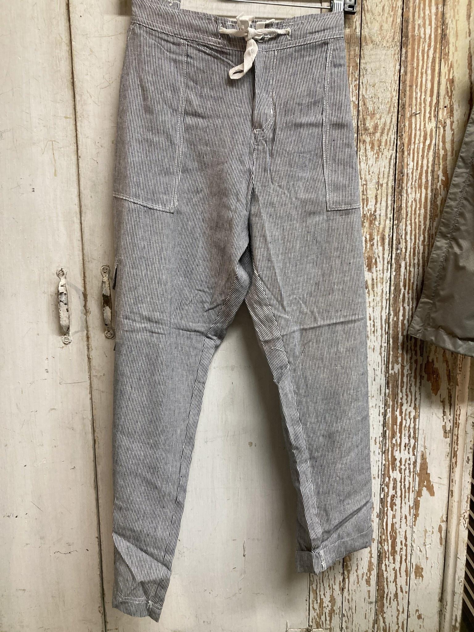 Striped Linen Capri Pants (2-Colors/4-Sizes)