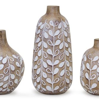 Set of 3 Boxwood Leaf Vases