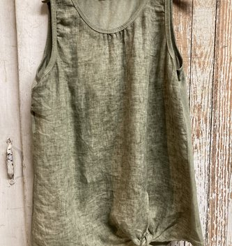 Sleeveless Olive Linen Top