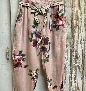 Linen Pants Pink with Florals