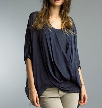 Navy Silk Top Shell w/ Liner By: Tempo Paris