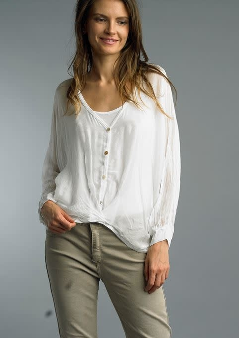 Tempo Paris Relaxed Fit Silk Button Top w/ Tank By: Tempo Paris