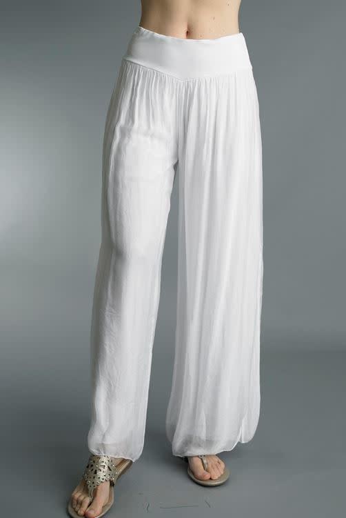 Tempo Paris White Silk Blend Pants By: Tempo Paris