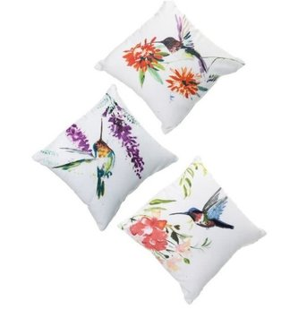 Embroidered Floral Hummingbird Pillow