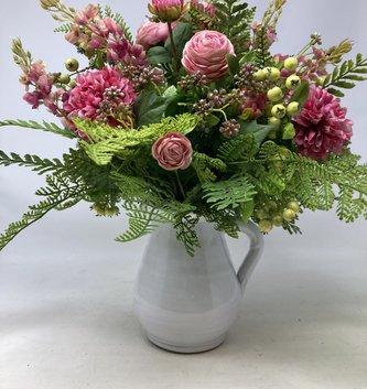 Custom Pink Dahlia & Ranunculus in White Pitcher