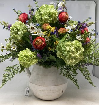 Custom Wild Ranunculus in Double Handled Vase