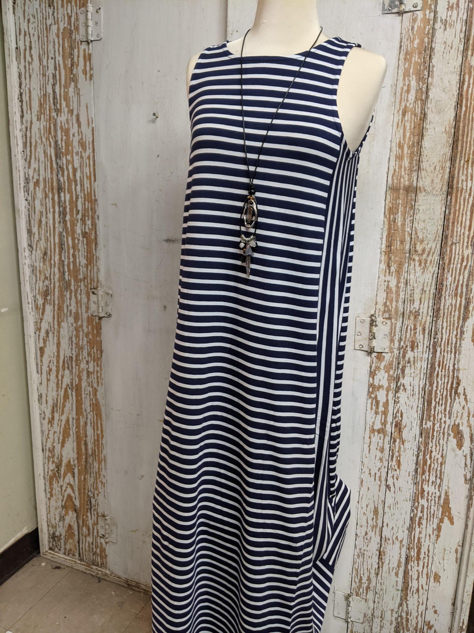 Striped Sleeveless Maxie Dress (4-Sizes)