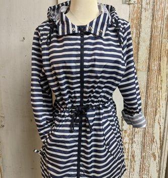Striped Rain Jacket Navy (4-Sizes)