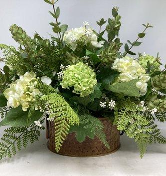 Custom White Hydrangea With Green Hops Arrangement