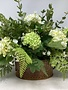 Custom White Hydrangea With Green Hops Arrangement
