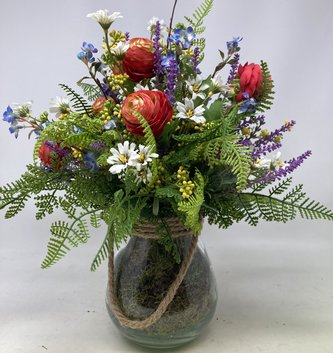 Custom Wildflower Arrangement in Glass with Ropehandle