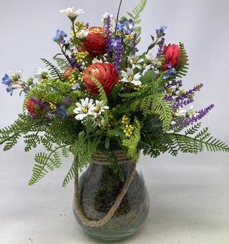 Custom Wildflower Arrangement in Glass with Ropehandle