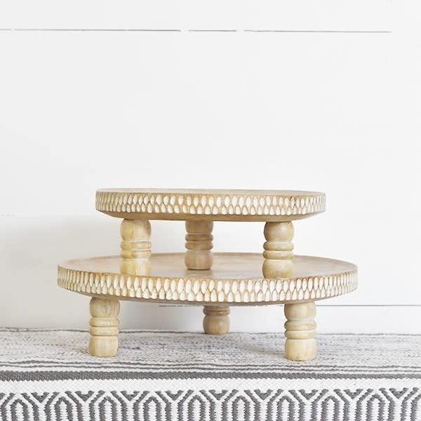 Whitewashed Wooden Round Tray w/ Legs (2-Sizes)