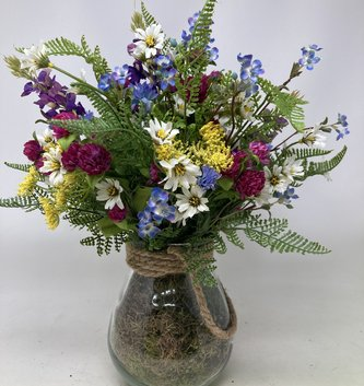 Julies Custom Meadow in Glass Container w/ Rope Handle