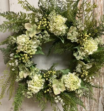 Custom White & Green Helleborus & Hydrangea Wreath