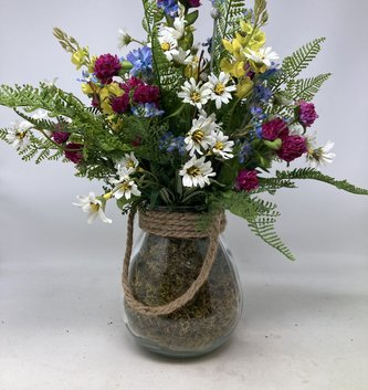 Custom Wildflowers & Pink Clover in Glass Container