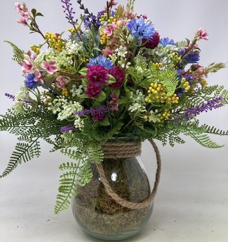 Custom Pastel Wildflowers Arrangement in Glass Container