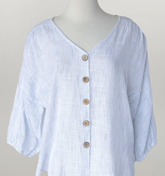 Blue Stripe Cotton V-Neck Button Top