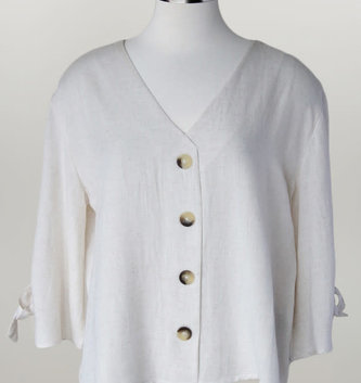 Oatmeal Cotton V-Neck w/ Tie Sleeve