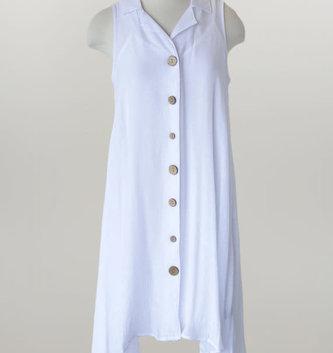 Ocean Breeze White Button Dress w/ Slip
