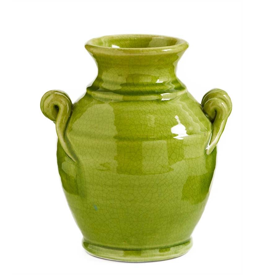 Green Twisted Handled Urn (2-Sizes)