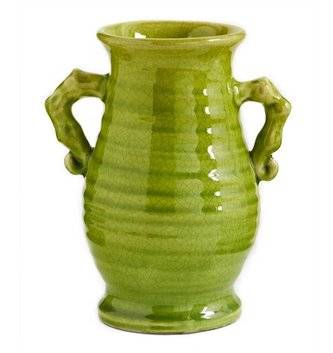 Green Double Handled Crackle Vase