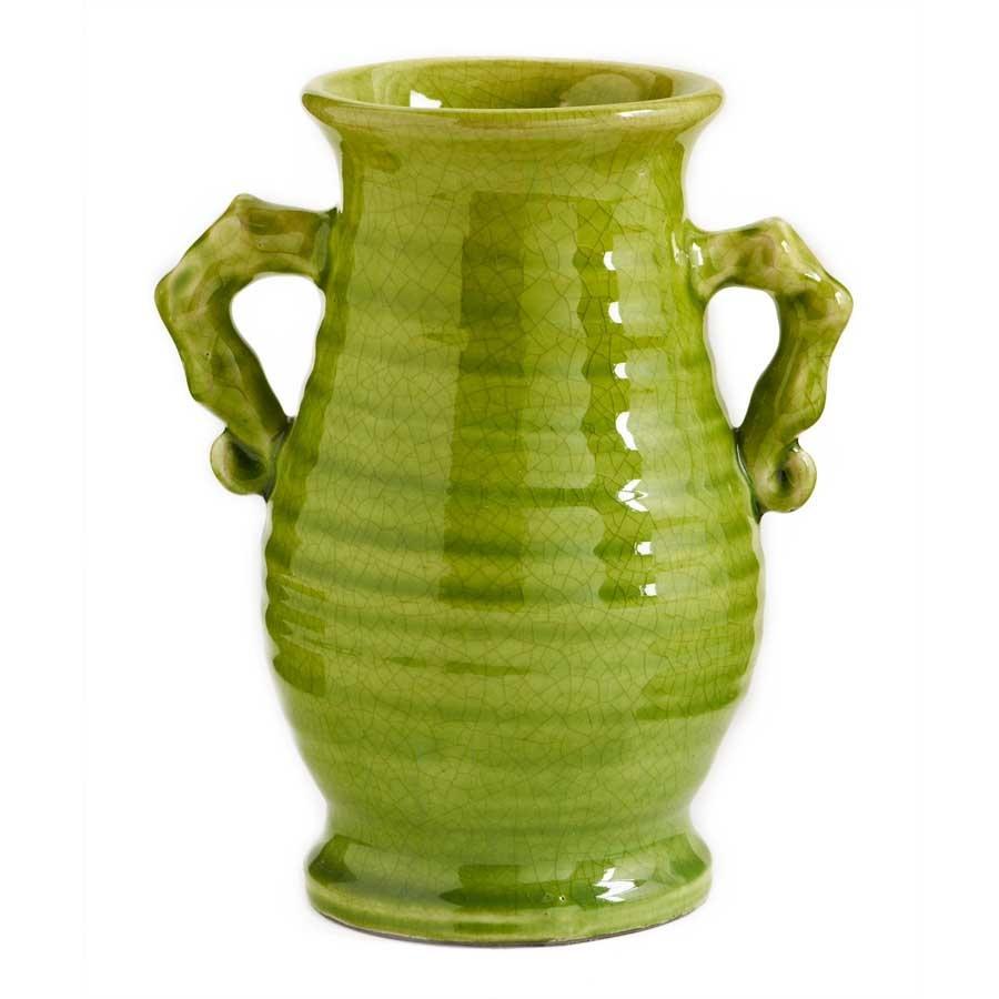 Green Double Handled Crackle Vase