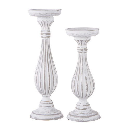 Set of 2 White Distressed Candle Sticks
