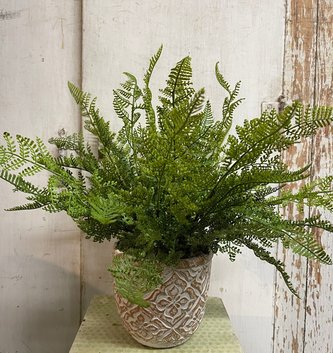 Custom Natural Touch Leather Fern in Round Patterned Pot