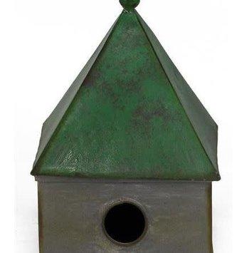 Green Galvanized Birdhouse w/Porch