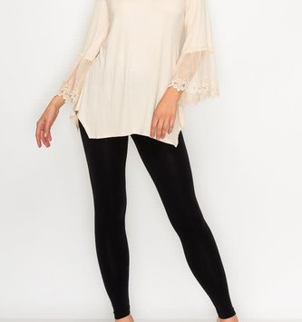 Beige Lace Trim 3/4 Sleeve Tunic