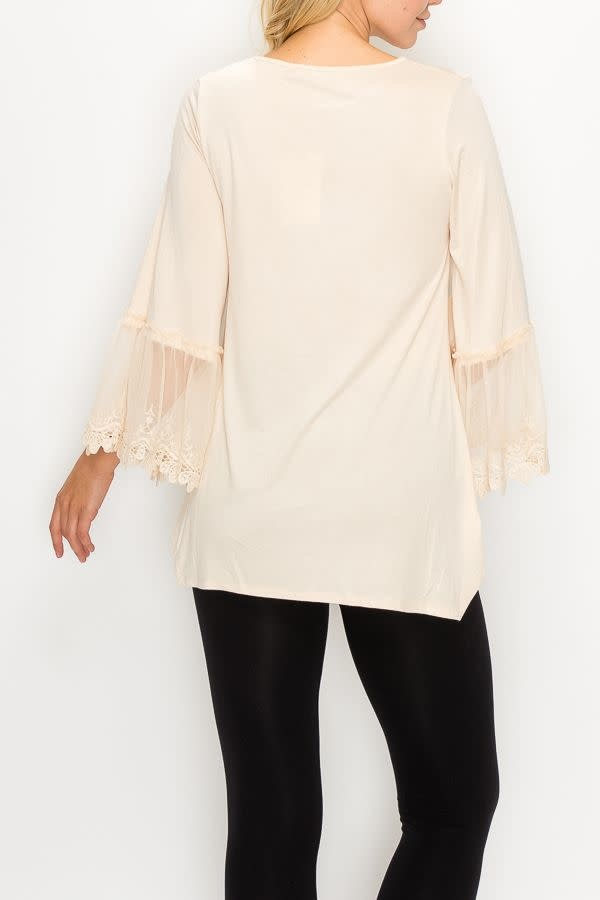 Beige Lace Trim 3/4 Sleeve Tunic